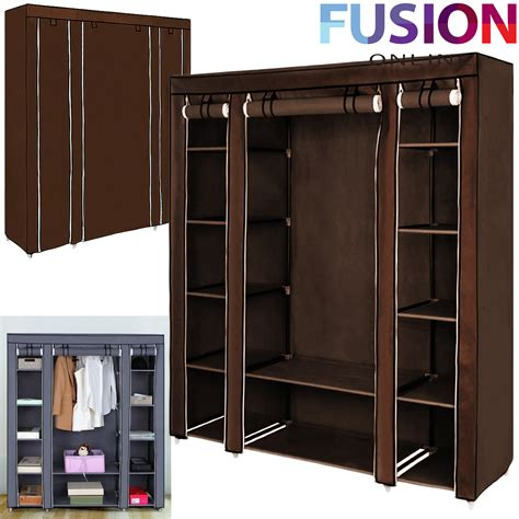 Cloth Storage Wardrobe by Fabric Canvas Clothes Wardrobe With Hanging Rail Shelving Home Storage
