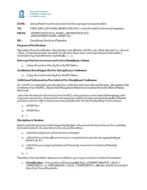 disciplinary decision letter demotion templates