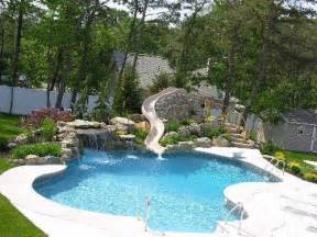 Backyard Pool With Slide Swimming Pool Slides Swimming Pool Designs With Slides Home Designs Wallpapers Outdoor