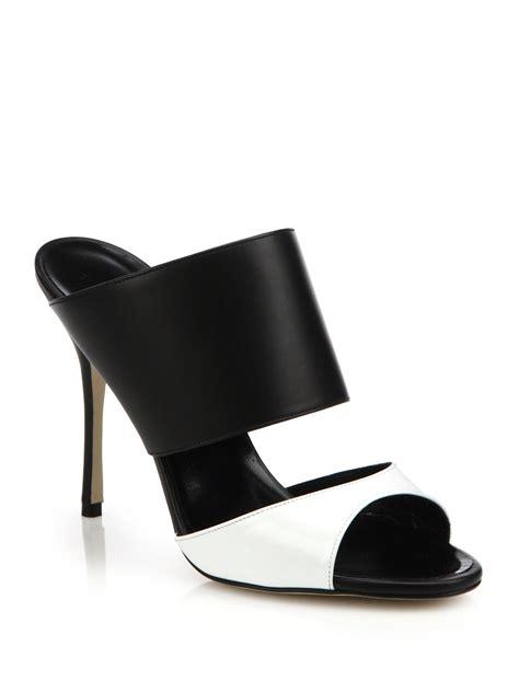leather mule sandals manolo blahnik ripta patent leather leather mule sandals