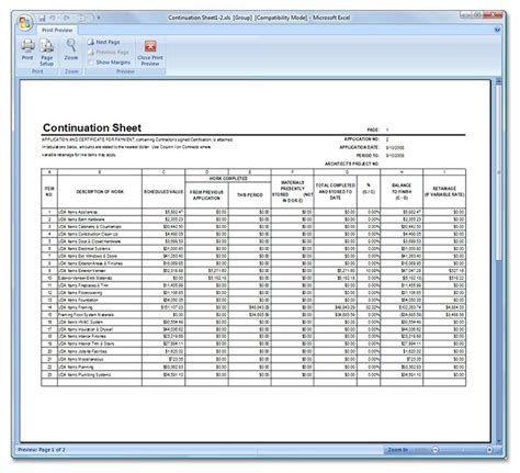 Uda Constructionsuite Application For Payment Aia G702 G703 Excel Template