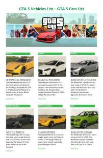 gta 5 new cars list gta 5 vehicles list