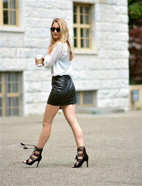 ciliberto black leather skirt lookbook