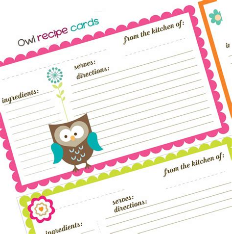 cute printable recipe cards free cute owl themed recipe cards digital sheet collage sheet