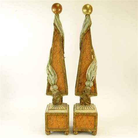 italian home decor accessories pair of early 20th century italian carved painted and parcel