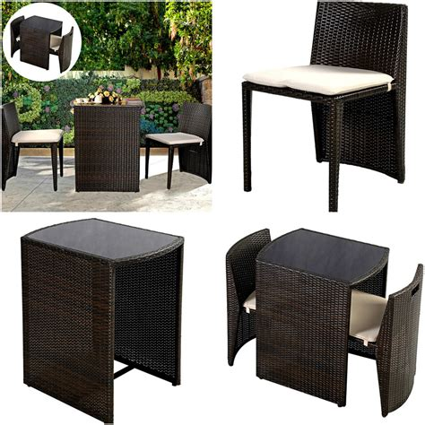 Small Patio Table And 2 Chairs Small Bistro Table And 2 Chairs Set High Bar Outdoor Rattan Bbq Garden Wicker Ebay
