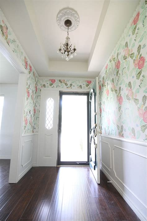entryway wallpaper floral wallpaper entryway makeover run to radiance