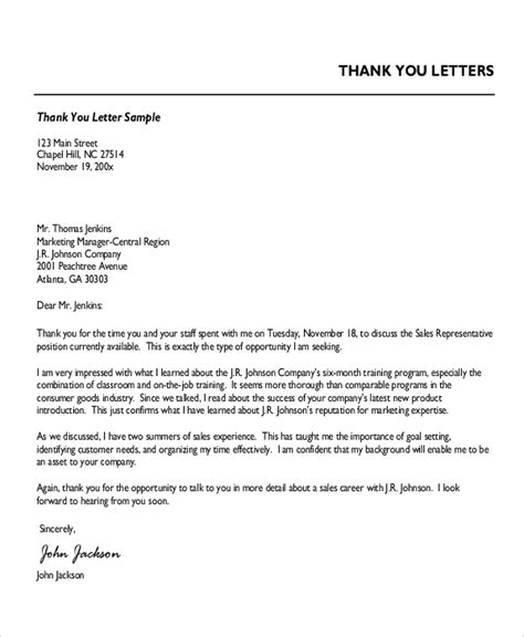 7 professional thank you letter sles sle templates