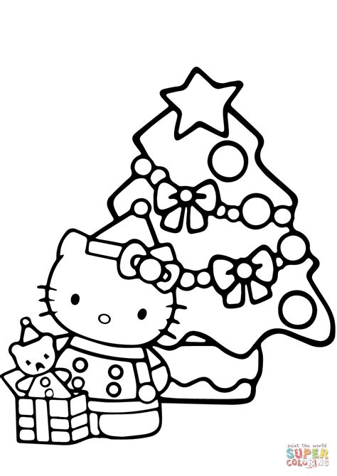 christmas kitty coloring page hello kitty christmas coloring page free printable