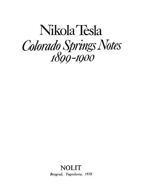 Tesla Colorado Springs Notes Pdf Nikola Tesla S Colorado Springs Notes