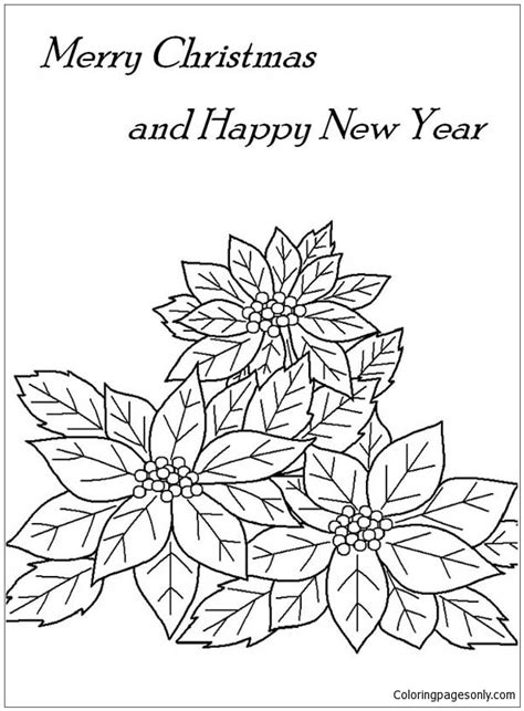 merry christmas  happy  year  poinsettia flower coloring page  coloring pages