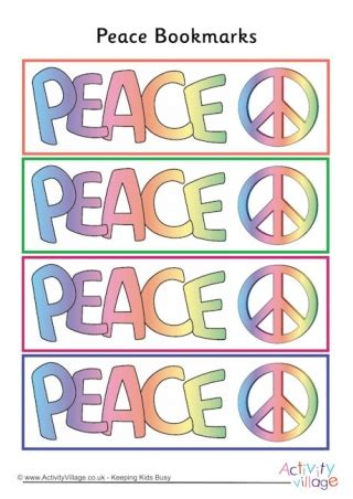 printable bookmarks activity village peace colouring bookmarks