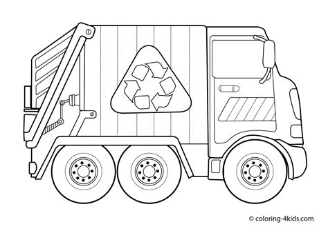 coloring page of trash truck garbage truck coloring pages for kids classroom