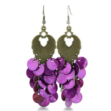 Purple Chandelier Earrings Antique Gold Tone Dangle Drop Purple Disc 2 1 2 Inch Chandelier Earrings Superjeweler