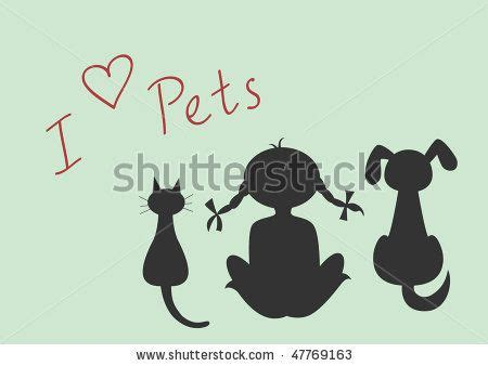 stock vector silhouettes  sitting cat dog