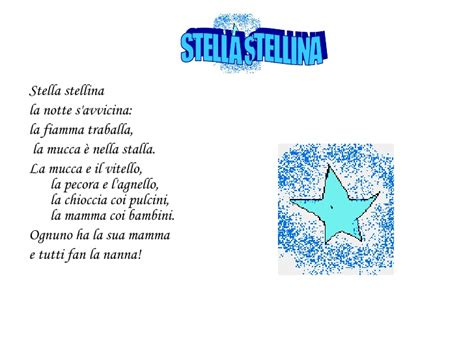 stella stellina la notte si avvicina testo canzoni e filastrocche per la prima classe