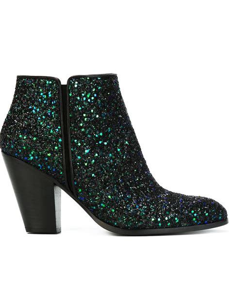 glitter boots giuseppe zanotti glitter ankle boots in green lyst