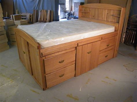 rescue industries solid oak bed  drawers