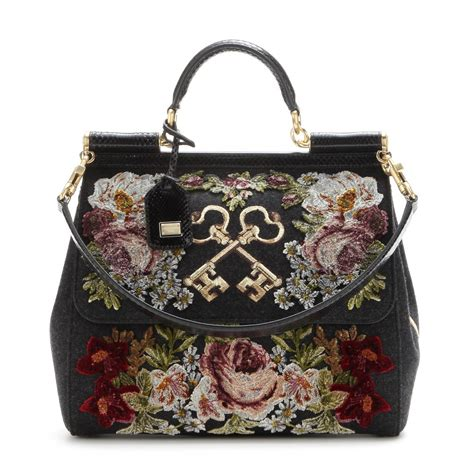 Dolce And Gabbana Wool Felt Cinched Tote by Dolce Gabbana Miss Sicily Wool And Snakeskin Tote Lyst