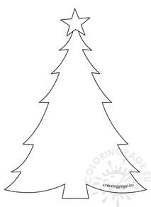 template christmas tree with star coloring page