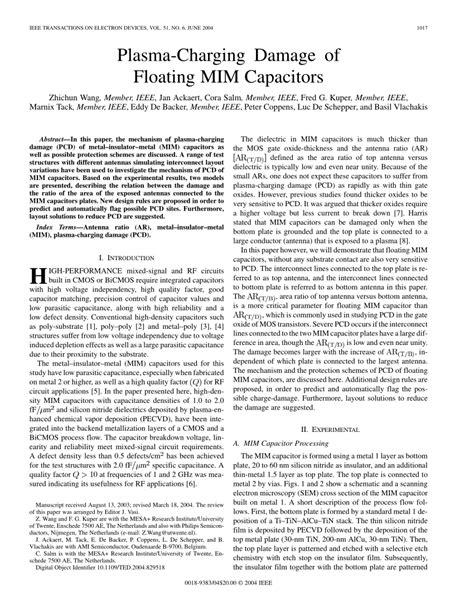 plasma charging damage of floating mim capacitors pdf available