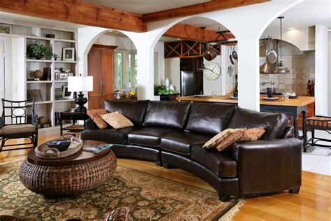Leather Decorating Ideas by Lovely Curved Leather Sectional Sofa Decorating Ideas