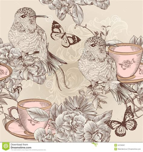 clipart vintage style floral pattern vector seamless wallpaper pattern in floral vintage style