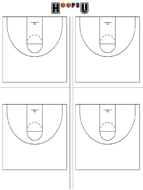 half court basketball template printable basketball court clipart best