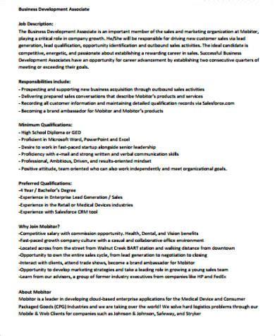9 Sle Sales Associate Job Descriptions Sle Templates H1b Description With Duties And Percentages Sle Template