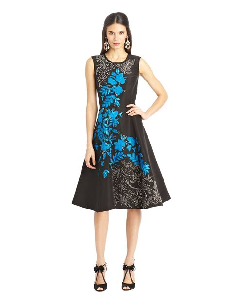 10 Floral Dresses For by Oscar De La Renta Sleeveless Floral Embroidered Silk