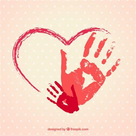 imagenes de corazones dibujados a mano coraz 243 n pintado a mano con huellas de manos descargar