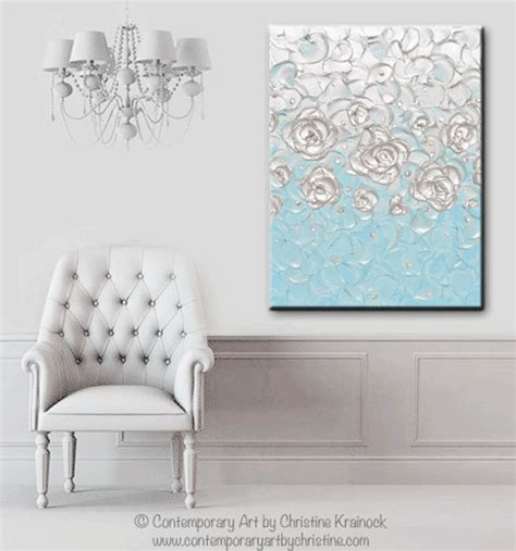 original abstract painting pearl white blue wall home