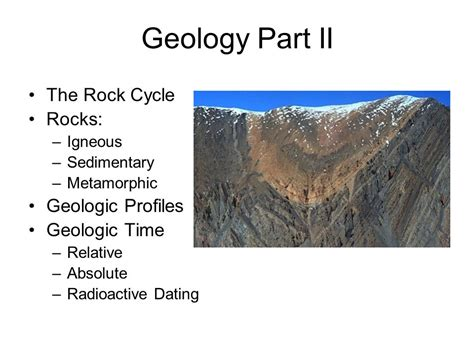 Section 3 1 The Rock Cycle by Geology Part Ii The Rock Cycle Rocks Geologic Profiles
