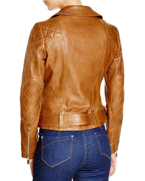 Crows Denim Jaket Leather Exclusive millen leather biker jacket 100 bloomingdale s exclusive in brown lyst