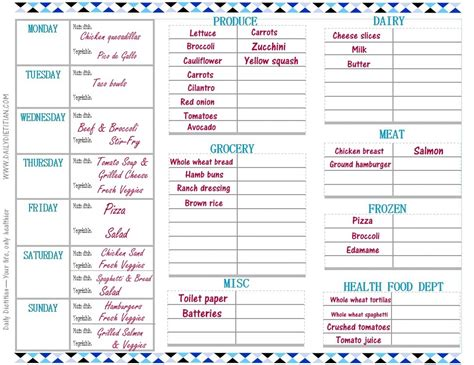 printable grocery planner weekly meal planner with grocery list grocery list template