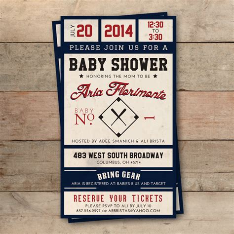 baseball baby shower invitation templates vintage baseball ticket baby shower invitation personalized