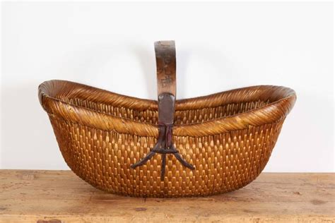 Handmade Willow Baskets - antique handmade willow flower basket at 1stdibs