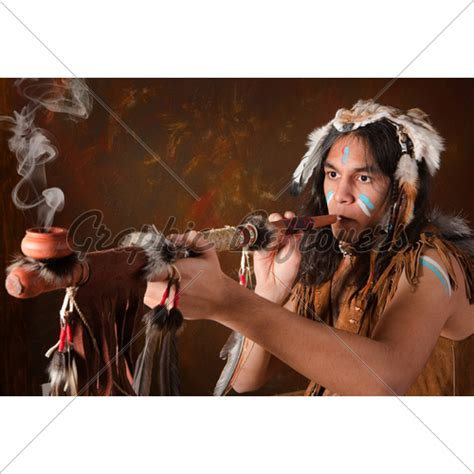 indian with peace pipe 183 gl stock images