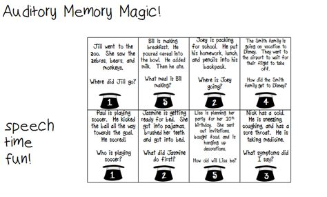 Auditory Memory Activities Worksheets by Auditory Memory Magic