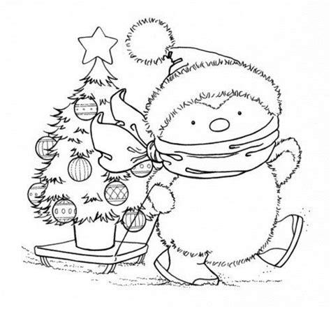 free coloring pages of a christmas penguin