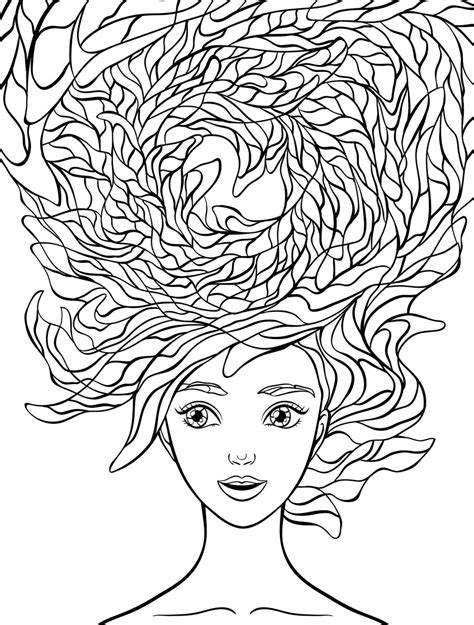 coloring pages of girl with long hair manga girl long hair coloring pages sketches bdefaadbfa