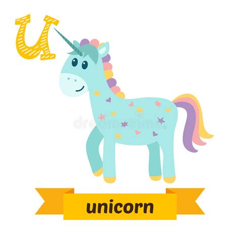 animal alphabet u unicorn stock vector image 7600203 unicorn u letter children animal alphabet in vector