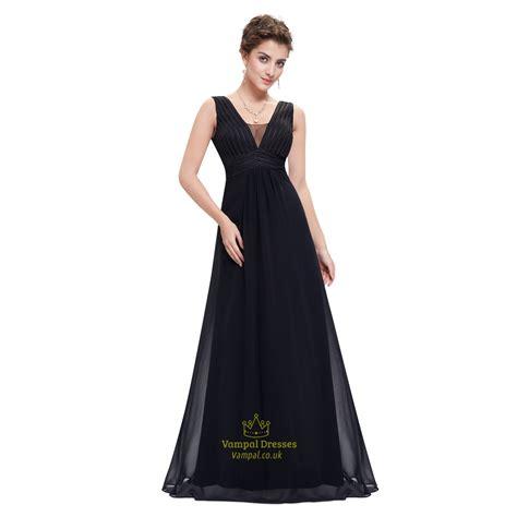 black chiffon floor length sleeveless v neck empire waist