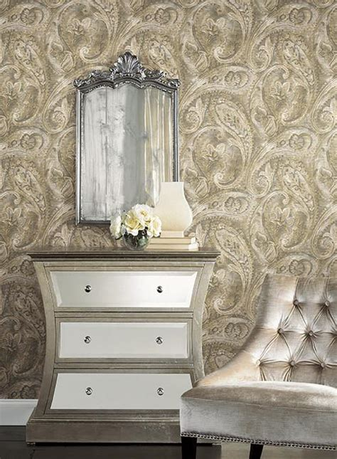 york wallcoverings home design raised paisley wallpaper in yellow and silver design by