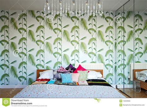 retro bedroom with a 70 s design feeling royalty free
