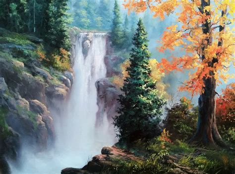 bob ross paintings with acrylics quot rushing waterfall quot by kevin hill check out my