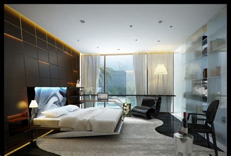 new interior design of bedroom big glass window closed white curtain in contemporary