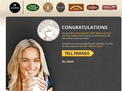 Green Mountain Coffee Instant Win - instantly win a keurig or a green mountain k cup sler box