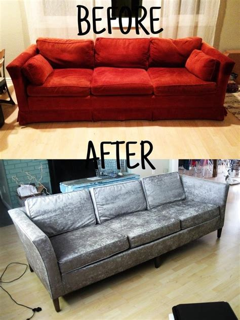 how to recover a sofa reupholster your sofa before and after before and after