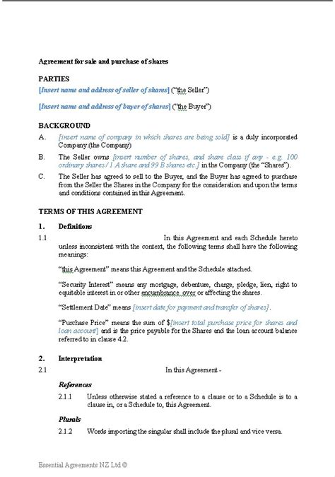 sale of shares agreement template business companies new zealand documents